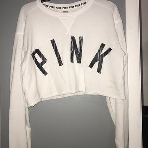 White and Marble cropped PINK long sleeve tee